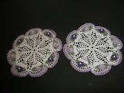 New Hand Crocheted Set Of 2 Doilies 3