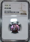 Ngc Pf-65 Rb 1914 Matte Proof Lincoln Cent Vibrantly Toned Red-brown Specimen