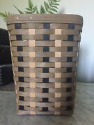 Longaberger 2015 Small Waste Basket + Protector Khaki Check Hard To Find Rare