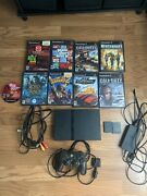 Sony Playstation 2 Ps2 Slim Black Tested Bundle 9 Classic Games 2 Memory Cards