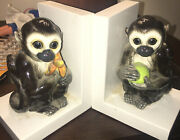Ceramic Capuchin Monkey Pair Figurines Bookends- Holding Banana And Round Fruit