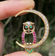 Vintage Diamond, Ruby, Emerald Crescent Moon And Owl Pendant, 14k Gold Charm