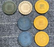 Vintage Lot Of 7 Wooden Nickels For Owls Club Pennsylvania 1970-1980