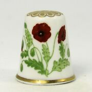 Fine Bone China Thimble Poppy Flower Of The Year 1985 By Spode Tm118
