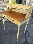 Antique Ethan Allen Hitchcock Stenciled 32 Maple Writing Desk And Windsor Chair