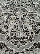 Antique Bobbine Lace Table Cloth Fabric Hand Made Italian French Figurel Lace