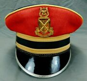 Pershing's Own Hat Cap Us Army Band Vintage Red Uniform W/ Badge And Cover 6 3/4