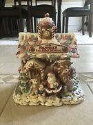 Fitz And Floyd Christmas Candy Lane Cookie Jar Santa Railroad Station Holiday