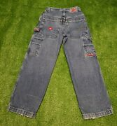 Vintage Jnco Jeans Size 14 Graffiti Embroidered Pockets Baggy Rave 90s