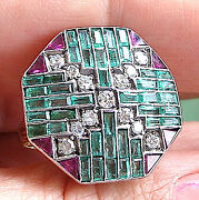 Retro 2.44 Emerald And Rubys And Diamond 14k W/y Gold Hand Made Ring Fine Jewelry