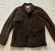 Mens J Crew Suede Coat Lt Large Tall Quilted Lining Brown Casual Fall Jacket