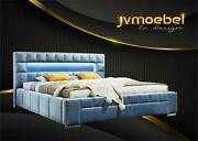 Luxury Boxspring Bed Fabric Hotel Blue Beds Bedroom Furniture Design Double