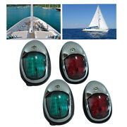 Green And Red 12v Stainless Steel Boat Marine Yacht Bow Navigation Led Light 4pcs