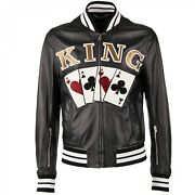 Dolce And Gabbana Playing Cards King Embroidered Bomber Leather Jacket Black 09720