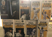2021 Milwaukee Brewers Bobblehead Lot Uecker Yelich Braun Aaron Yount Cain