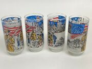 Libbey Bicentennial Frosted Drinking Glasses 1776-1976 Excellent Shape Set Of 4