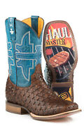 Tin Haul Mens Brown/blue Leather Grill Master Bbq Cowboy Boots