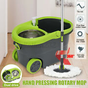 Easy Wring Spin Mop 360anddeg Bucket Floor Home Cleaning Tool With 2 Microfiber