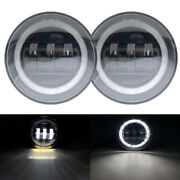 2pcs 4inch 30w Led Fog Lights With Halo Drl Offroad Lamp For Hummer H2 2003-2009