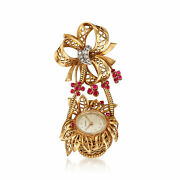 Vintage Bucherer Synthetic Ruby And Diamond-accented Flower Basket Watch Pin In