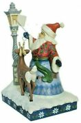 Jim Shore Figurine Santa By Lighted Lamppost With Led 6000673 - 20001d