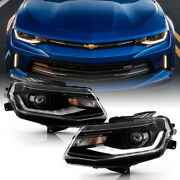 [led Tube]black Projector Hid Head Lights Lamps For 2016-2022 Chevy Camaro