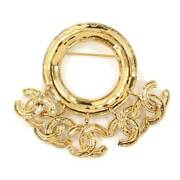 Coco Mark Brooch Roundgold Accessory 94p Vintage Secondhand _49542