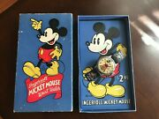 Disney Vintage Mickey Mouse Wrist Watch - Leather Band With Box By Ingersoll