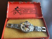 Disney Vintage Mickey Mouse Wrist Watch - Chrome Band With Box By Ingersoll
