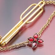 Vintage Garnet Signed Swank Stylized Flower Tie Tack - Pat Pending 2 Inches Long