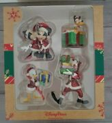 New Disney Parks Christmas Mickey Minnie Mouse And Pals Figurine Ornaments Set