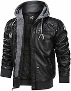Hood Crew Menand039s Warm Pu Faux Leather Zip-up Motorcycle Bomber Jacket With A Remo