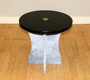 Charming Marble Low Occasional Circular Black Top Table And Roman Head Crest