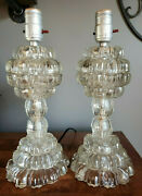 Vintage Leviton Fluted Tiered Glass Lamp Set 13 Tall
