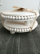 Wood Beaded Pedestal Riser White Wash 2 Pack Farmhouse Decor Pairs With Mud Pie