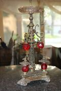 Rare Vintage Ashtray Stand Beautiful Red Acrylic Highlights Ornate Metal Work