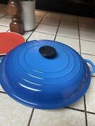 Le Creuset France 30 Blue Enamel Large Cast Iron Round Dutch Oven With Lid 12in