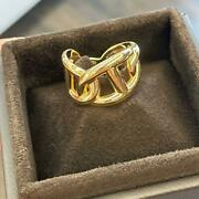 Authentic Hermes Ca Enchainee 18k Yellow Gold Ring Box