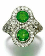 1.30ct Natural Round Diamond 14k Solid White Gold Emerald Wedding Cocktail Ring