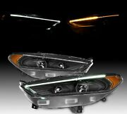 For 2013-2016 Ford Fusion Black Led Housing Headlights Headlamps Replacement Set