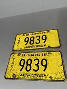 Illinois 1975 Pair Old License Plate Set Vintage Taxi 9839 Land Of Lincoln