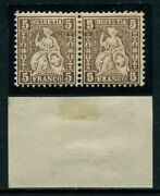 Switzerland 5 Ctms 1862 Brown In Couple Un Stamp Double Printing/double