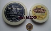 2 Antique Pot Lids - Reapplied Antique Carbolic Tooth Powder Labels