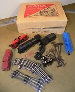 Marx 4225 Electric Train Set-steam Locomotive Flat And Tractors O-gauge-see Video