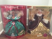 Lot 2 Happy Holidays 1995 And 1996 Barbie Doll New In Box Blonde Dolls Collectible