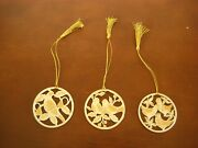 3 - Lenox 12 Days Of Christmas Ornaments Partridge 2 Turtle Doves 3 French Hens