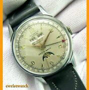 Vintage 50s Gothamatic Date-o-matic Triple Date Moonphase Orig Dial 33mm Ss Case