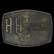 H And H Oil Tool Bakersfield California Oil Field Gas 1980s Vintage Belt Buckle