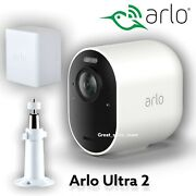 New Arlo Ultra 2 4k Indoor/outdoor Wireless Security Camera With Battery And Mount