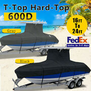 600d Waterproof T-top Roof Boat Cover Heavy Duty Fish Ski Runabouts 16ft-24ft